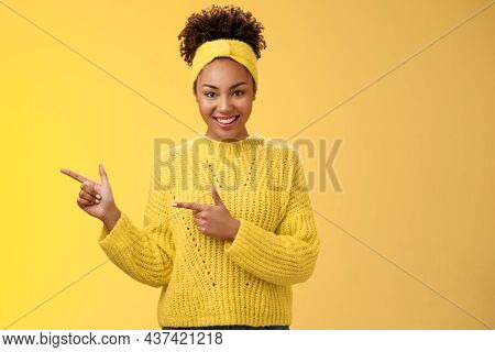 Confident Good-looking Millennial Feminine African-american Woman Headband Sweater Look Self-assured