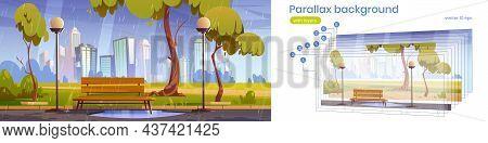 Parallax Background City Park With Bench At Summer Or Spring Rain. Cartoon Urban 2d Cityscape, Publi