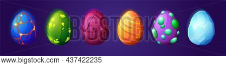 Cartoon Dragon Eggs, Dinosaur And Reptile Ui Game Assets Vector Set. Magic Collection With Colorful