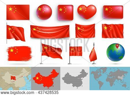 Set Of China Flags Of Various Shapes And Maps. Realistic Waving Chinese Flag On Pole, Table Flag, Gl