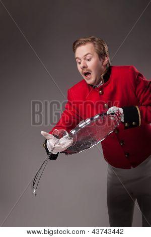 Waiter drops a tray
