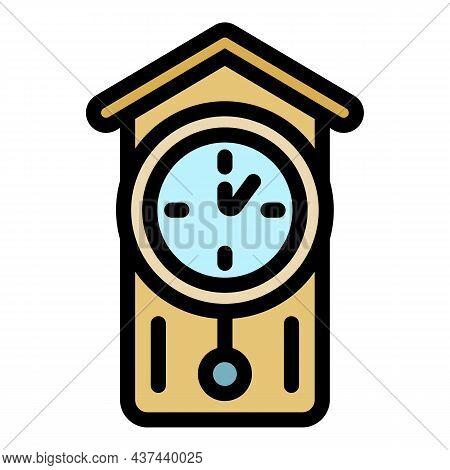 Alarm Pendulum Clock Icon. Outline Alarm Pendulum Clock Vector Icon Color Flat Isolated