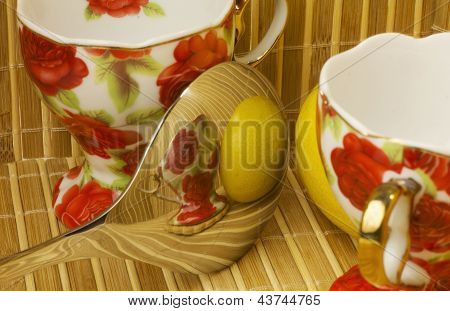 Two cups with spoon