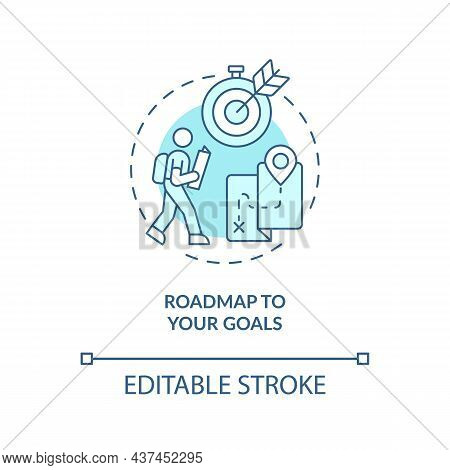 Roadmap To Your Goals Blue Concept Icon. Define Personal Path Abstract Idea Thin Line Illustration.