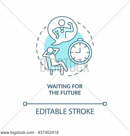 Waiting For Future Blue Concept Icon. Unhappy Mindset Abstract Idea Thin Line Illustration. Wait For