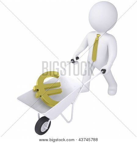 poster of 3d white man carries a wheelbarrow with the euro. Isolated render on a white background