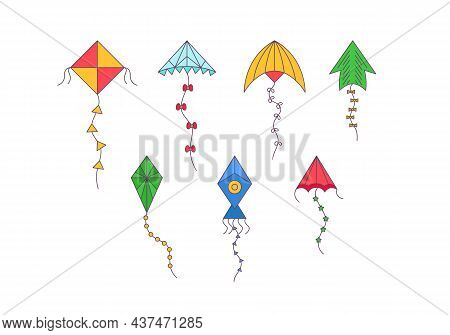 Kites. Set Of Cartoon Kites. Wind Flying Toy With Ribbon And Tail For Kids. Vector Illustration. Win