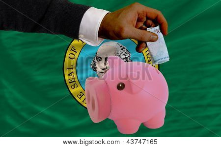 Funding Euro Into Piggy Rich Bank Flag Of American State Of Washington