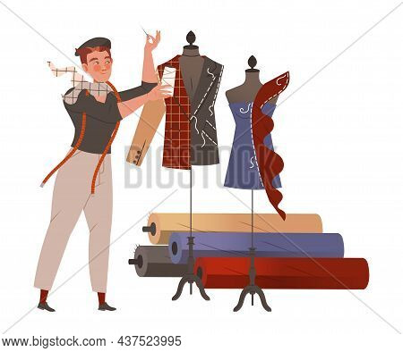 Man Fashion Designer Or Tailor With Thread And Needle Fitting Clothing Garment Model On Mannequin Ve