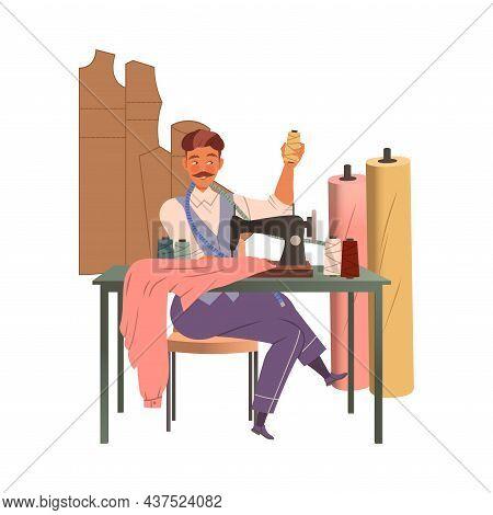 Man Fashion Designer Or Tailor Working At Sewing Machine Making Clothing Garment Vector Illustration