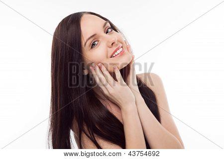 Portrait Of Beautiful Brunette Smiling Girl