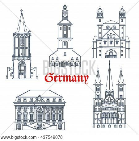 Germany Travel Landmarks And Architecture Buildings Of Cologne And Bonn, Vector. German Architecture