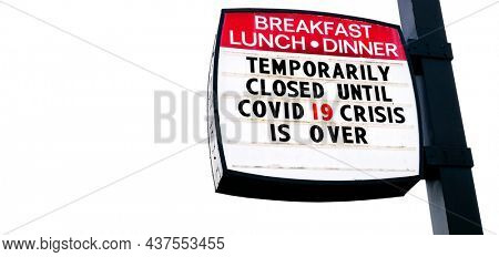 Covid-19 Coronavirus closed restaurant business food dining under quarantine pandemic