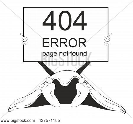 Error 404 Page Not Found Concept Illustration, Webpage Banner.  Hand With Banner Spelling Error 404