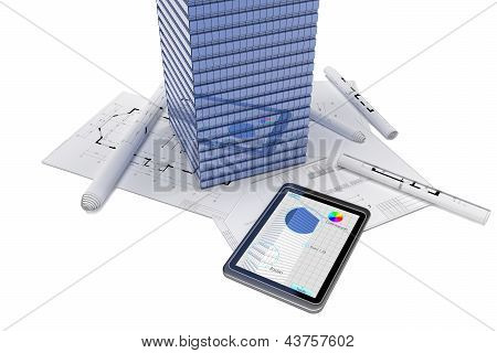 Skyscraper and tablet PC