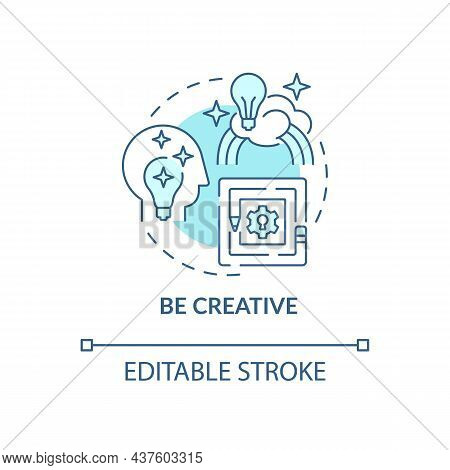 Be Creative Blue Concept Icon. Innovative Thinking For Projects. Personality Trait. Career Advanceme