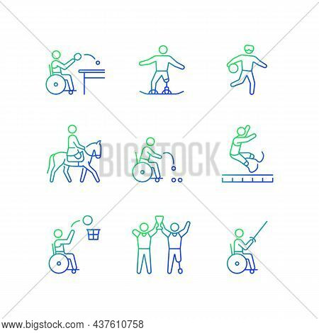 Sport Championship Gradient Linear Vector Icons Set. Varied Athletic Events. Athletes With Physical
