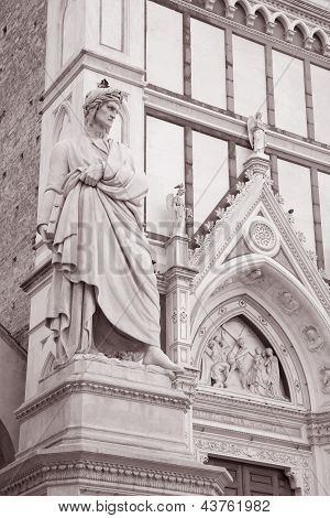 Dante Statue In Florence; Italy