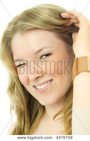 Beautiful Blond Woman Winks