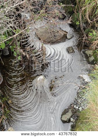 Stream With Foam Spirals