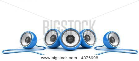 Blue Stylish Stereo System With Cables