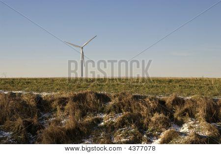 Wind Turbine In Cold Landscape
