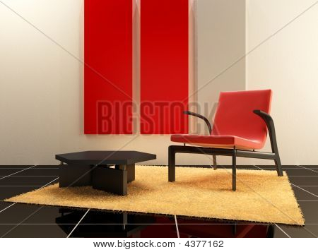 Interior Design - Red Seat In Relax Room
