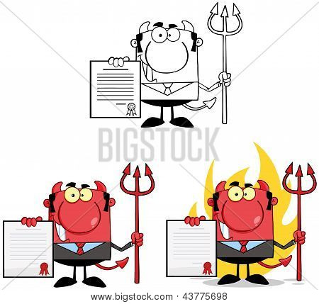Smiling Devil Boss With A Trident Holds Up A Contract. Collection