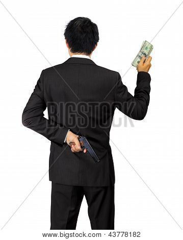 Back Of An Asian Male Carry A Gun And Money On White
