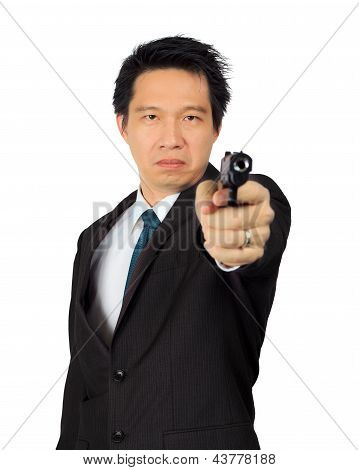 Asian Male Carry A Gun On White