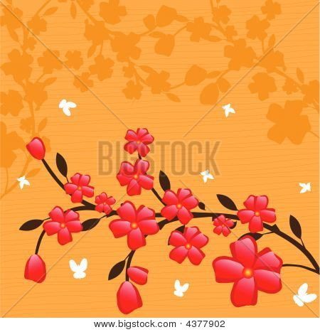 Branch of a plant the Japanese style background poster