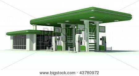Gas Station 3D Render