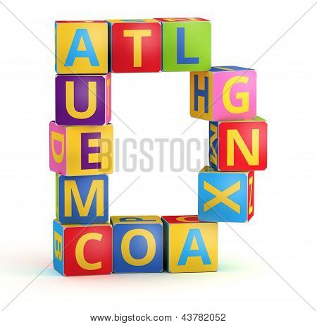 Letter D from ABC cubes for kid spell education poster