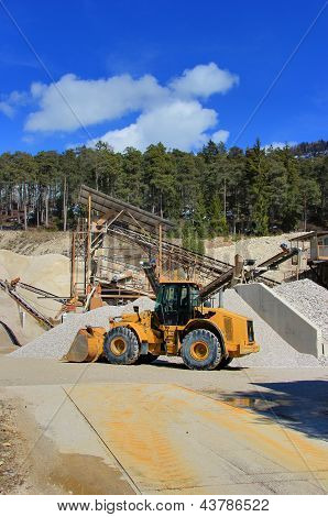 bulldozer gravel mine