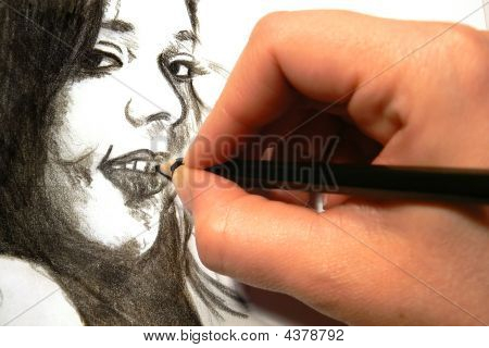 Sketching A Woman's Face
