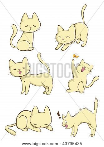 Cute female cat in various action create by vector poster