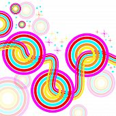 Linked retro circles are featured in an abstract background illustration with space for text. poster