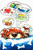 Sleepieng dog dreaming. Picture created with watercolors. poster