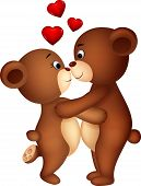 Vector illustration of bear couple cartoon embracing each other poster