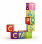 Letter J from ABC cubes for kid spell education poster