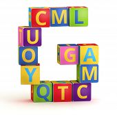 Letter G from ABC cubes for kid spell education poster