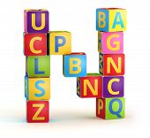 Letter N from ABC cubes for kid spell education poster