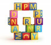 Letter Q from ABC cubes for kid spell education poster