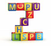 Letter Z from ABC cubes for kid spell education poster