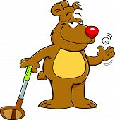 Cartoon illustration of a teddy bear holding a golf club. poster