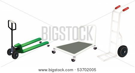 Hand Truck, Dolly And Pallet Truck On White Background