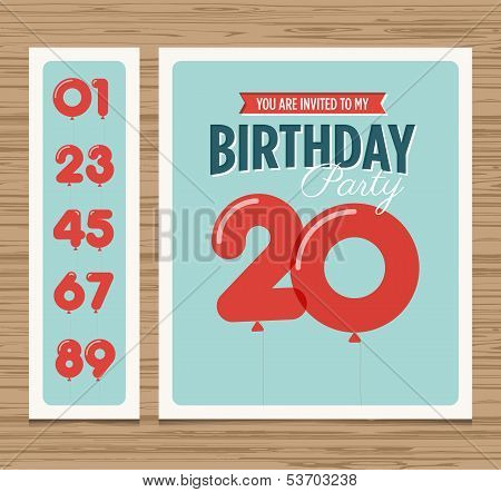 Birthday card balloons numbers