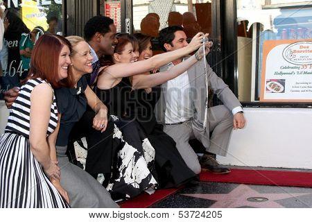 LOS ANGELES - NOV 8: K Flannery, Maria Bello, B Underwood, Debra Messing, M Hargitay, DPino, Hilary Swank at the Mariska Hargitay WOF Ceremony on Hollywood Blvd on November 8, 2013 in Los Angeles, CA\
