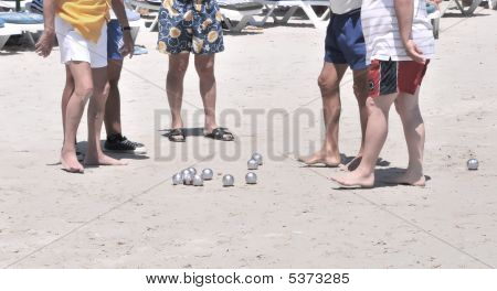 Men Are Playing Of Bowls(bocci), French Game.