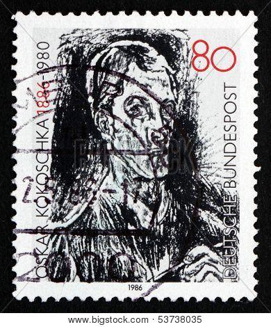 Postage Stamp Germany 1986 Bach Cantata, Detail, By Oskar Kokoschka